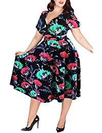 Women's V-Neckline Stretchy Casual Midi Plus Size...