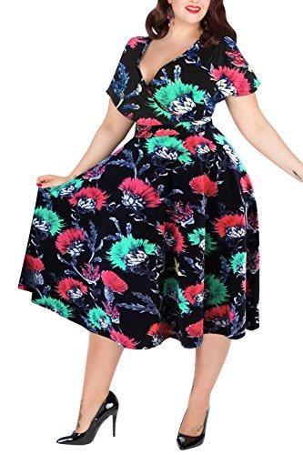 Nemidor Women's V-Neckline Stretchy Casual Midi Plus Size Bridesmaid Dress (22W, Navy-Print)