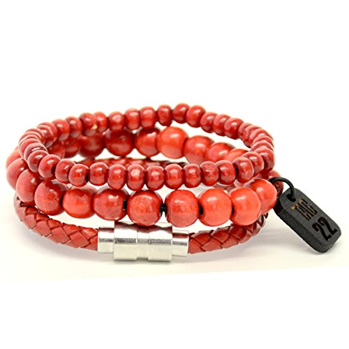 3 Red 10 Bracelet - Tag Twenty Two 3 Pack 10mm, 6mm and Leather Bracelet Red