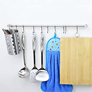 Wall Mounted Stainless Steel Pan Pot Rack,Kitchen Utensils Organizer,Durable Solid Bar