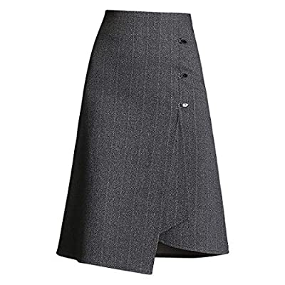 Wincolor Women's Asymmetrical High Waisted Wool Blend Striped Front Slit A-line Midi Skirts