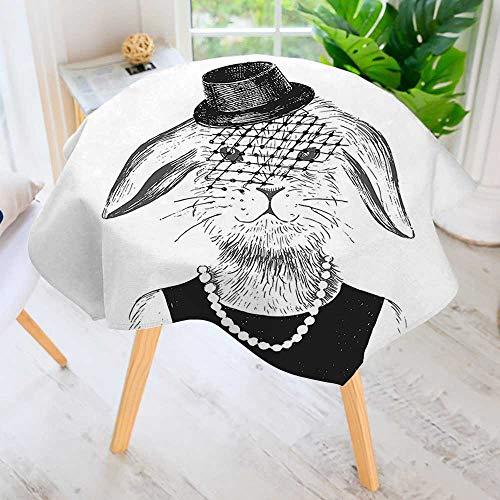 aolankaili Round Tablecloth-Rabbit Girl with Pearls and Hat Hipster ComicBunny Graphic Black White Round Circular Solid Polyester Tablecloth 43.5