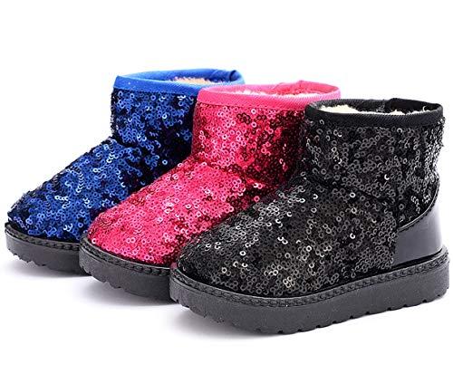DADAWEN Boy's Girl's Warm Winter Sequin Waterpoof Outdoor Snow Boots