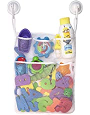 Lilly's Love Bath Toy Storage - Large 14 x 20 inch Bathtub Toy Holder + 2 Locking Hooks, Quick Dry & Easy for Kids to Put Bath Toys Away