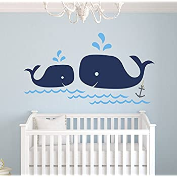 whale family nautical mom and baby wall decal nursery wall decals nautical nursery decor vinyl sticker