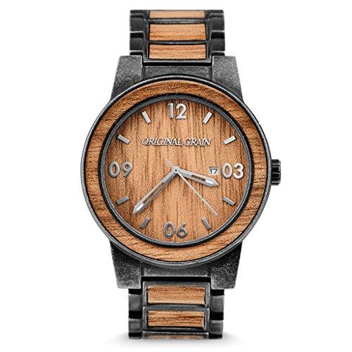 - New Original Grain Wood Wrist Watch | Barrel Collection 47MM Analog Watch | Wood and Stonewashed Stainless Steel Watch Band | Japanese Quartz Movement | Koa Wood