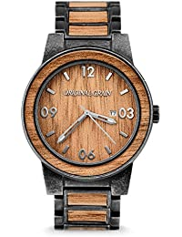 New Original Grain Wood Wrist Watch | Barrel Collection 47MM Analog Watch | Wood and Stonewashed Stainless Steel...