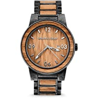 New Original Grain Wood Wrist Watch | Barrel Collection 47MM Analog Watch | Wood and Stonewashed Stainless Steel Watch Band | Japanese Quartz Movement | Koa Wood
