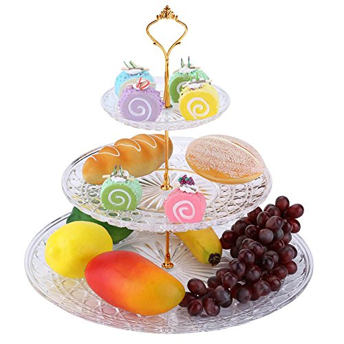 Fruit Holder, 3 Tier Round Acrylic Transparent Serving Platter Dessert Nuts Cupcake Display Tower Supplies Tray Carrier Stand for Party Wedding Birthday (#1) -