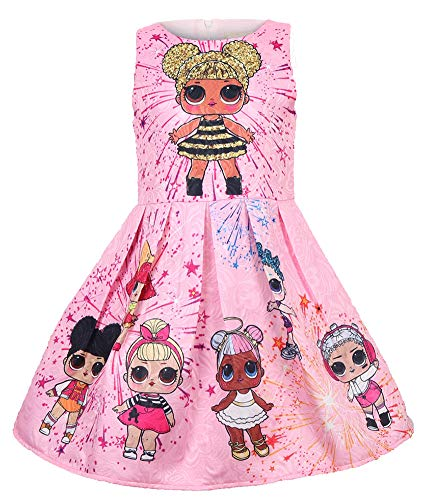 WNQY Girls Surprise Princess Dress up Doll Digital Print Party Gown Dress for Doll Surprised (120/4-5Y, Pink) ()