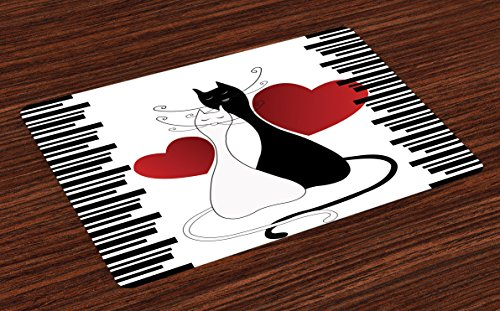 Ambesonne Cats Place Mats Set of 4, Romantic Kittens Pets Couple Two Tails Hearts and Black Stripes Valentine's Love, Washable Fabric Placemats for Dining Room Kitchen Table Decor, White Black Red, ()