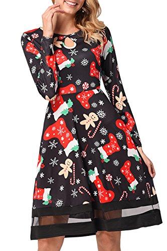 La Jupe Des Femmes De Noël, Une Ligne Robes Tunique Chemise Noël Casual Manches Longues Chaussettes Noires Neige