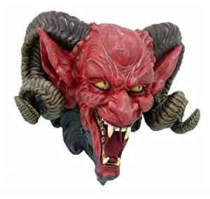 Hell Spawn Demonic Horned Devil Head Haunted Statue Resin Figurine Wall Plaque