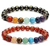 Top Plaza 7 Chakra Healing Crsytals Beads Agate Onyx Stretch Bracelets Tibetan Buddhist Mala Prayer Beads Bracelet(Set of 2)