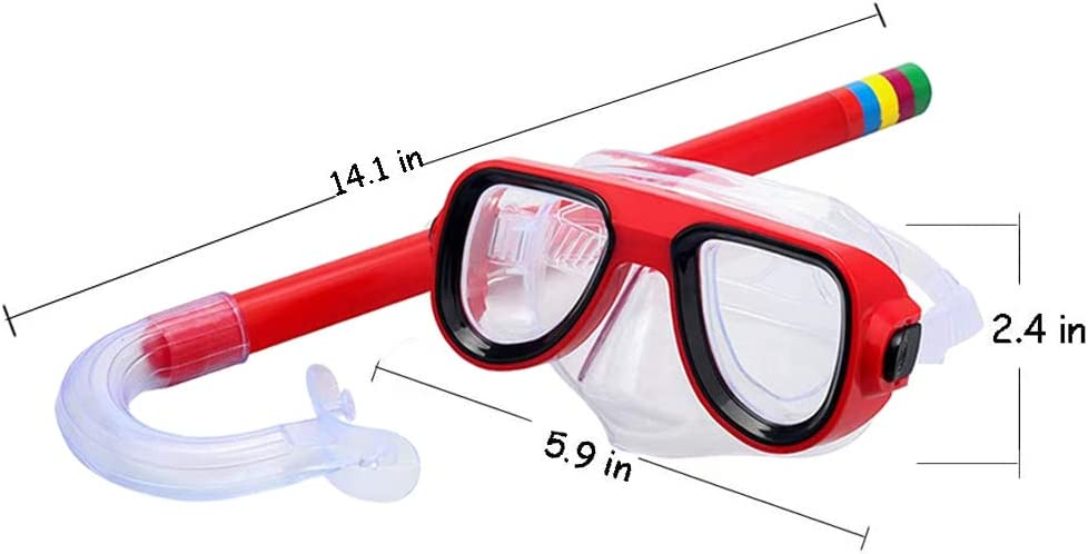 lofuanna Kids Snorkel Set Junior Snorkeling Gear Kids Silicone Scuba Diving Snorkel Equipment for Boys and Girls Age from 4-8 Years Old