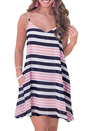 - RAISEVERN Women's Summer Dress Floral Beach Sundress Sleeveless Stripe Printed Bohemian Spaghetti Strap Swing Dresses with Pockets