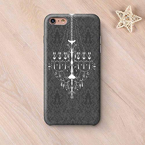 Vintage Wear Resisting Compatible with iPhone Case,Victorian Baroque Stylized Nostalgic Chandelier on Damask Background Rococo Design Compatible with iPhone 7/8,iPhone 6 Plus / 6s Plus