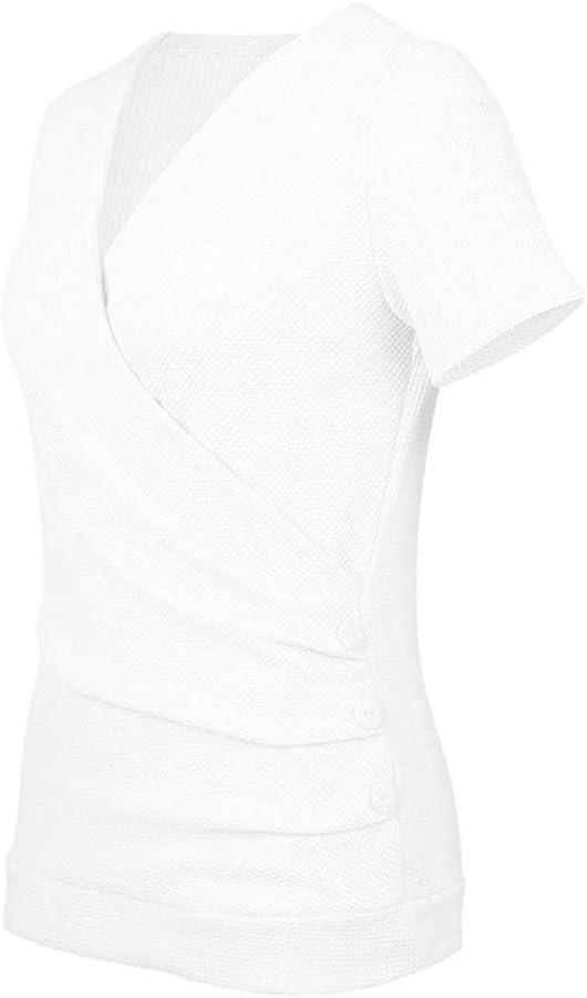 La Camiseta con Cuello en v para Mujer de Primavera y Verano era Ajustada y Delgada de Color sólido con Manga Corta: Amazon.es: Ropa y accesorios
