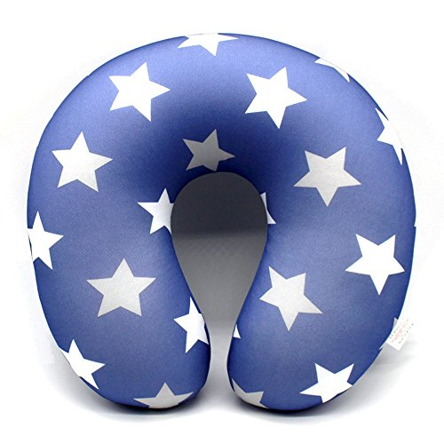 Classic Star Pattern U-Shape Microbead Neck Pillow Cover-Protect Headrest Travel Soft Cushion-Office Pillows Case With Button