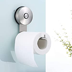 JOMOLA Vacuum Suction Cup Toilet Paper Holder Drill Free Bathroom Tissue Paper Roll Holder Stainless Steel Toilet Paper Hanger Brushed Finish
