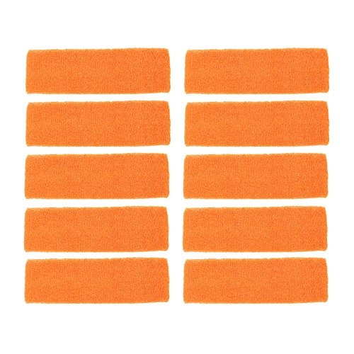 12 Pack Terry Cotton Headband Sport Elastic Orange Color by Energi8_ZIE