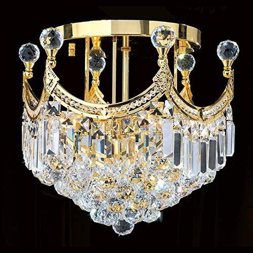 Worldwide Lighting Empire Collection 6 Light Gold Finish and Clear Crystal Flush Mount Ceiling Light 16