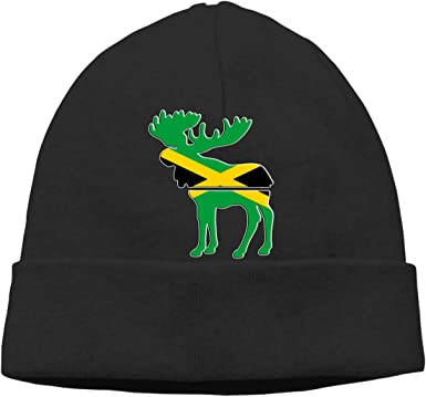 BBlooobow Unisex Moose Jamaica Flag Soft Knit Beanie Caps