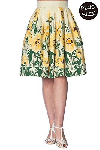Banned Plus Size Sunflower Retro Vintage Skirt - Custard/UK-20