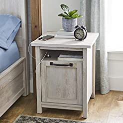 Bedroom Better Homes and Gardens Modern Farmhouse Side Table/Nightstands with USB Port in Rustic White farmhouse nightstands