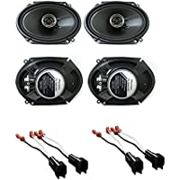 Pioneer TSG6845R 6 x 8 Inches 2-Way 250W Car Speakers (2Pairs) With (2PAIRS) Metra Ford Speaker Harness 1998-UP