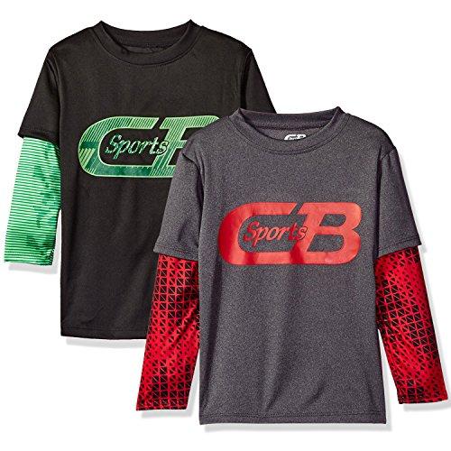 - CB Sports (2-pack) Boys' Athletic Long Sleeve Hangdown T-Shirt, Black/Grey, 14/16