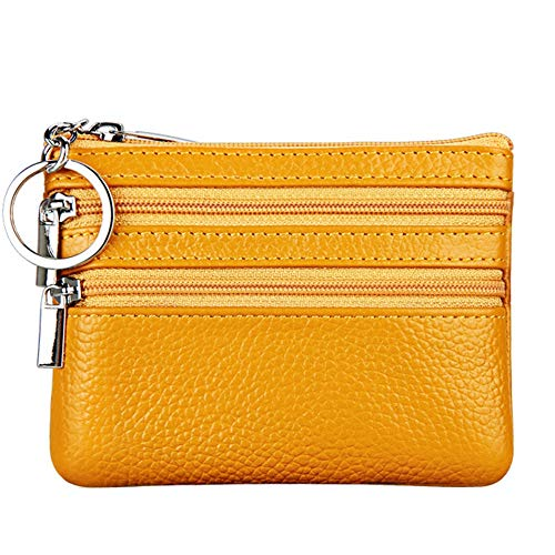 (Women's Genuine Leather Coin Purse Mini Pouch Change Wallet with Key Ring,Yellow)