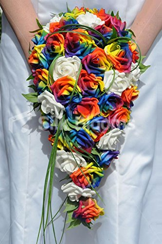 Colourful Artificial Rainbow Rose Wedding Cascade Bouquet with Ivory (Colourful Bouquet)