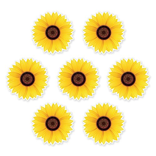 Sunflowers Set of 7 Vinyl Stickers - Car Window Bumper Laptop - SELECT SIZE