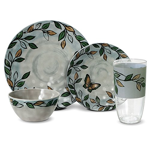 Pfaltzgraff Rustic Leaves Melamine Outdoor Dinnerware Set (32 Piece)