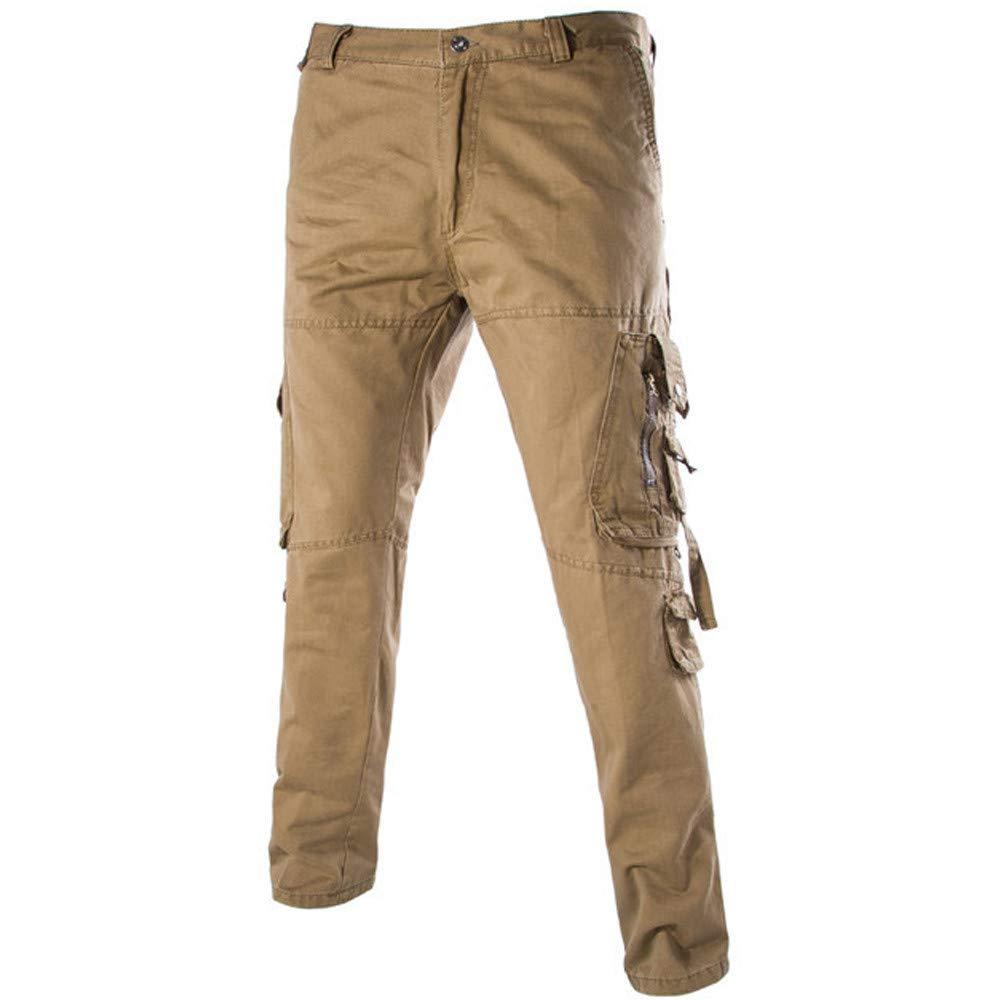 FarJing Pants for Men,Clearance Sale Men's Versatile Overalls Multi-Pocket Zipper Waist Loose Casual Trousers(Size:36,Brown