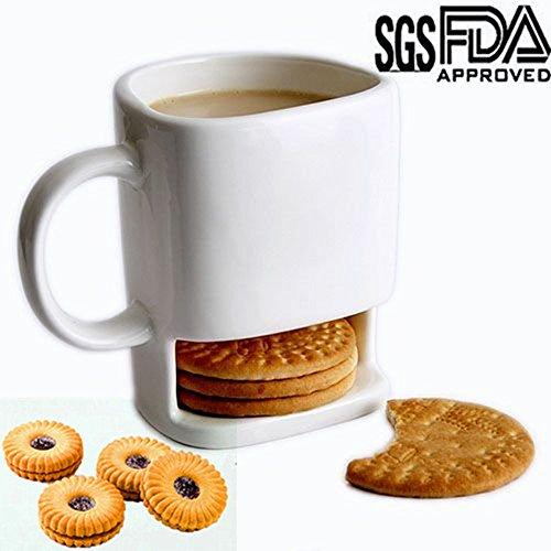 Dunk Mug, Casety 8.5 FL OZ Ceramic Cookies Mug Dunk Cup with Biscuit holder (Coffee Mug Cookie Holder)