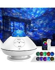 TATE GUARD Led-sterrenhemel, projector, nachtlampje met muziek, oceaangolf, sterrenlichtprojector, 10 kleurmodi, afstandsbediening/bluetooth/geluidsregeling/timer, voor kinderen, slaapkamer, feestdecoratie