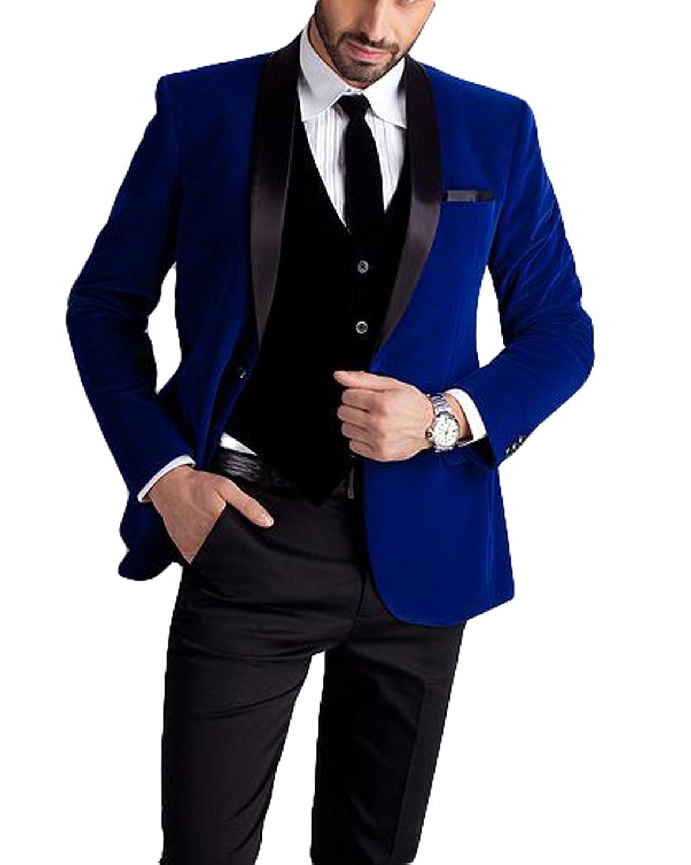 Botong Black Lapel Royal Blue Men Suits Jacket Pants Vest Wedding ...