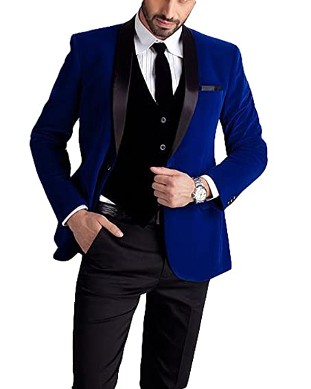 Botong Royal Blue Jacket Black Vest Pants Men Suits Wedding Suits at ...