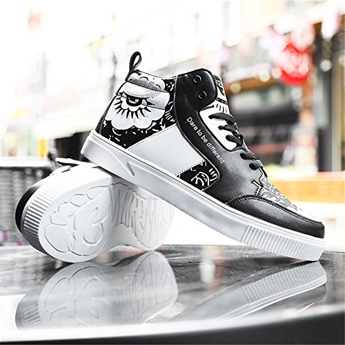 Leader show Mens Athietic Lace Up Sneaker Fashion High Top Running Shoes Black CCQ7uXOH