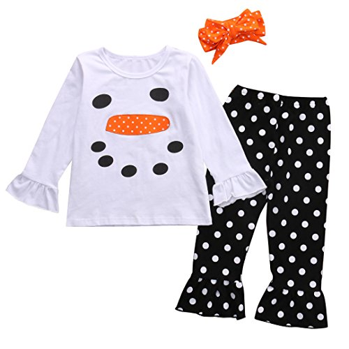 - Kids Little Girls Christmas Outfit Long Sleeve Snowman Top Shirt and Polka Dot Ruffle Leggings Set (95(3-4Y), White+Black)