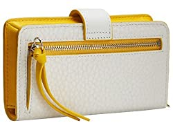 Coach Womens Bleecker Leather Contrast Trim Card Case White