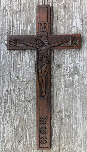 Wooden wall decor handmade wall crucifix church supplies housewarming presents - Carved Wooden Cross Hand