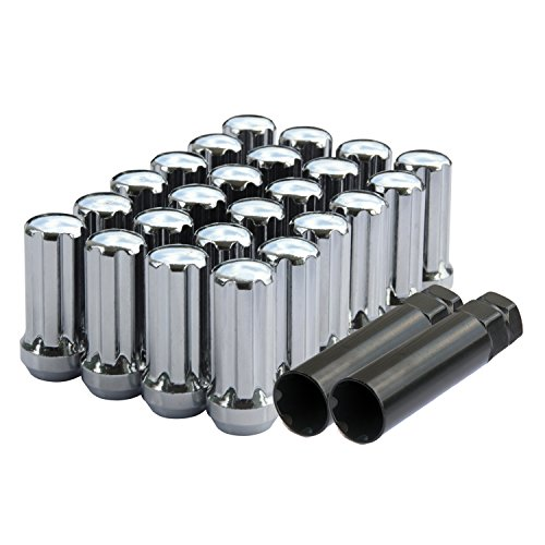 DCVAMOUS 24pc Bulge 7-Spline Steel Wheel Lug Nuts for 14x1.5 Studs Chevy GMC Toyota Ram Silverado 1500 F150 Tundra 2'' Tall Silver by DCUAUTO