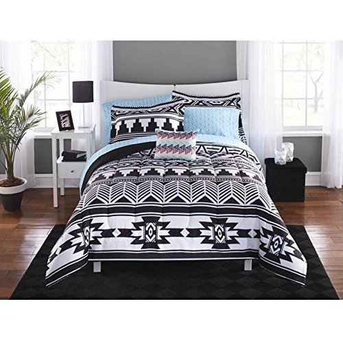 Mainstays Tribal Black and White 6-pc Bed in a Bag Bedding Set Full, Queen