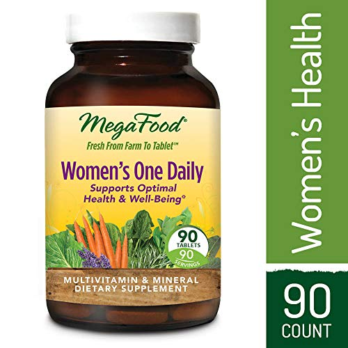 Women Tabs 90 Multivitamin - MegaFood - Women's One Daily, Multivitamin Support for Energy Production, Bone Strength, Hormone and Mood Balance with Iron and Vitamin D3, Vegetarian, Gluten-Free, Non-GMO, 90 Tablets (FFP)