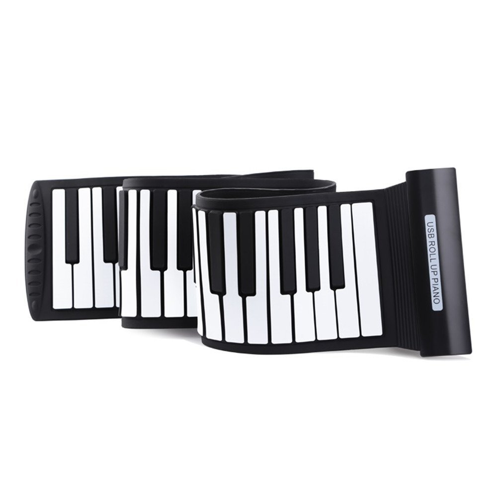 AIYIOUWEI 88 Keys MIDI Roll Up Electronic Piano Keyboard Silicone Flexible,USB