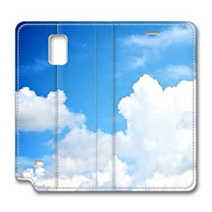 LGTOO Samsung Galaxy Note 4 Case,The blue sky and white clouds Custom Samsung Galaxy Note 4 High-grade leather Cases