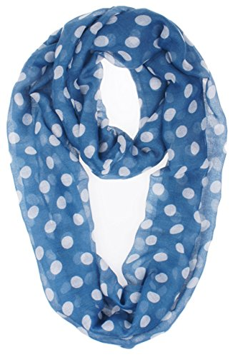 Vivian & Vincent Soft Light Weight Polka Dot Sheer Infinity Scarf Royal Blue